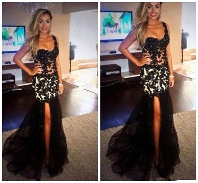 Elegant Black One Shoulder Mermaid Evening Dress UK Lace Appliques Beads_3