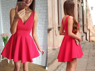 Sleeveless A-line Red Short Simple Straps Homecoming Dress UK_1