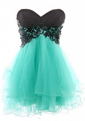 Appliques Elegant Short Cocktail Dress UKes UK Green Homecoming Sweetheart Sleeveless Organza Tiered Lace-up Gowns_3