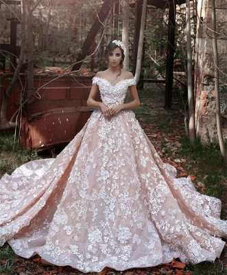 Elegant Pink Off-the-shoulder Appliques Wedding Dresses UK  Party Dresses_1