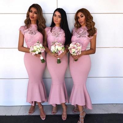 Pink Mermaid Bridesmaid Dress UK | Lace Cap Sleeve Wedding Reception Dress UK_3