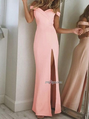 Sexy Sheath Off-The-Shoulder Side-Slit Long Prom Dress UKes UK_1
