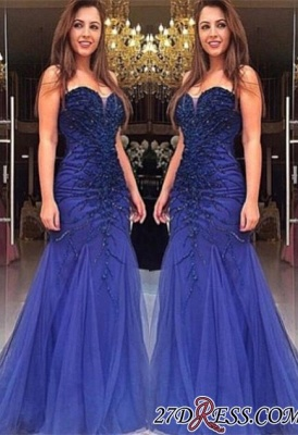 Mermaid Beads Delicate Sweetheart Tulle Sleeveless Prom Dress UK_2