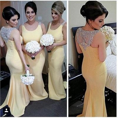 Sexy Crystals Straps Mermaid Bridesmaid Dress UK Sweep Train_3