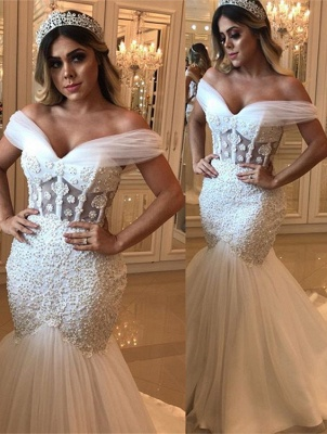 Delicate Off-the-shoulder Sexy Mermaid Beads Wedding Dress   White Bridal Gown_1