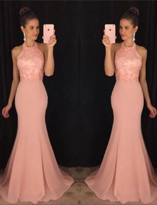 Elegant Halter Mermaid Lace Prom Dress UK Sweep Train AP0_1