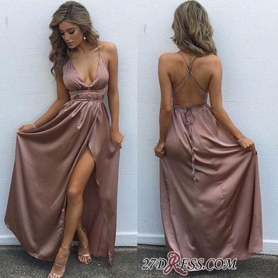 Elegant Floor-Length V-Neck Side-Slit Backless Simple Prom Dress UKes UK_1