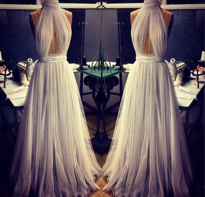 Sexy White High-Neck Prom Dress UKes UK Long Evening Party Gowns_3