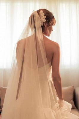 Ruffles Front Split Wedding Dress Beads Sweetheart Sleeveless_3