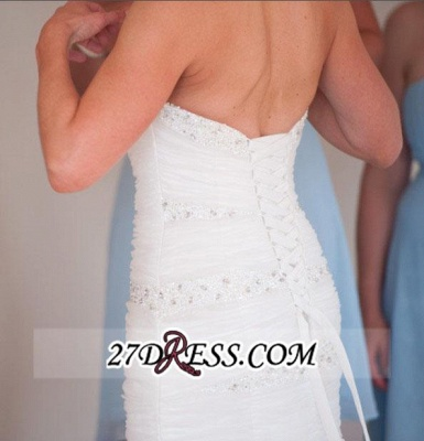 Sweep-Train Sweetheart Gorgeous Wedding Sexy Mermaid Tulle Lace-up Beads LDress_3