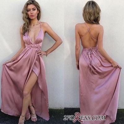 Elegant Floor-Length V-Neck Side-Slit Backless Simple Prom Dress UKes UK_2