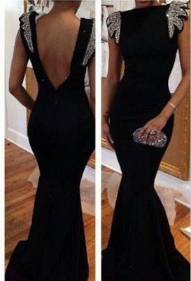 Elegant Backless Black Mermaid Prom Dress UKes UK Cap Sleeves Bateau Evening Gowns with beading Crystals_1
