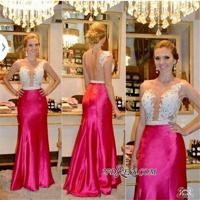 Sleeveless Tulle Sheer Beadings Sheath Elegant Appliques Prom Dress UKes UK_1