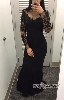 Lace Appliques Long Mermaid Dress UK Prom Long Sleeves Black Evening Gowns CC0001_1