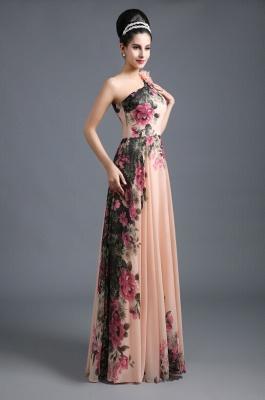 Sexy One SHoulder Print Flowers Floor Length Chiffon Prom Dress UK_2