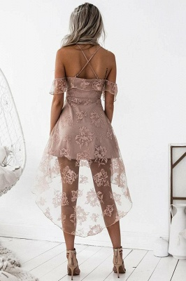 Short Hight-low Lace A-line Cute Homecoming Dress UK BA7000_4