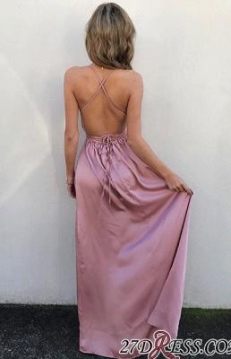 Elegant Floor-Length V-Neck Side-Slit Backless Simple Prom Dress UKes UK_3