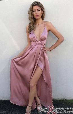 Elegant Floor-Length V-Neck Side-Slit Backless Simple Prom Dress UKes UK_4