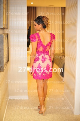 Formales Short Lace Prom Dress UKes UK New Arrival Cocktail Gowns Sexy Sleeves Sheer Fushcia Short Vestidos De Fiesta_2