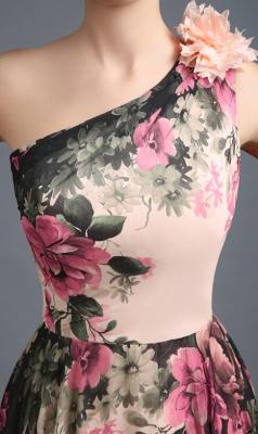 Sexy One SHoulder Print Flowers Floor Length Chiffon Prom Dress UK_4