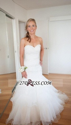 Sweep-Train Sweetheart Gorgeous Wedding Sexy Mermaid Tulle Lace-up Beads LDress_4