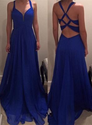 Sexy Royal Blue Long Chiffon Prom Dress UK Special Back IG050_1