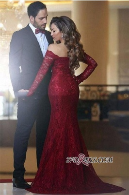 Lace Off-the-shoulder Red Sexy Long Long-Sleeve Mermaid Evening Dress UK BA3596_1