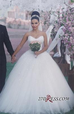 Sweetheart Sleeveless Beads Ball-Gown Elegant Wedding Dress_4
