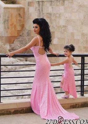 Pink Mermaid Sequined Open-Back Spaghetti-Straps Elegant Crystal Prom Dress UK_2