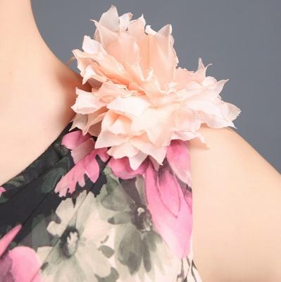 Sexy One SHoulder Print Flowers Floor Length Chiffon Prom Dress UK_5
