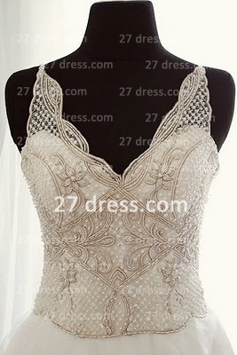 A-line Sequins Wedding Dresses UK Backless Spaghetti Straps Beaded Applique Court Train Formal Bridal Gown_1