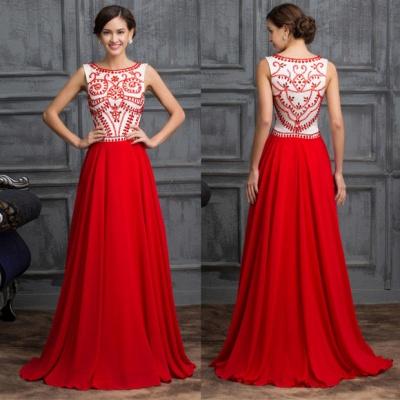 Elegant Red Sleeveless Long Chiffon Prom Dress UK With Crystals_3