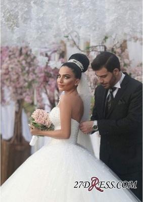 Sweetheart Sleeveless Beads Ball-Gown Elegant Wedding Dress_3