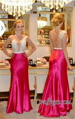 Sleeveless Tulle Sheer Beadings Sheath Elegant Appliques Prom Dress UKes UK_2