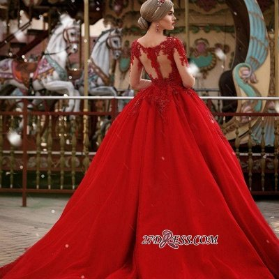 V-Neck Gorgeous Red Long Sleeve Lace Evening Dress BA7213_1