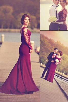 Luxury Long Sleeves Lace Appliques Evening Dress UK Mermaid Floor-Length_1