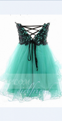 Appliques Elegant Short Cocktail Dress UKes UK Green Homecoming Sweetheart Sleeveless Organza Tiered Lace-up Gowns_2