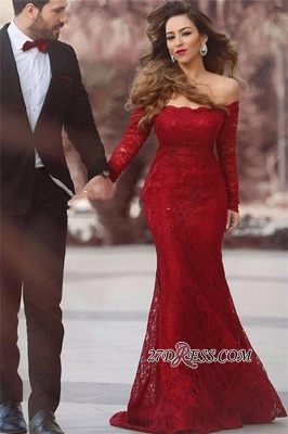 Lace Off-the-shoulder Red Sexy Long Long-Sleeve Mermaid Evening Dress UK BA3596_2