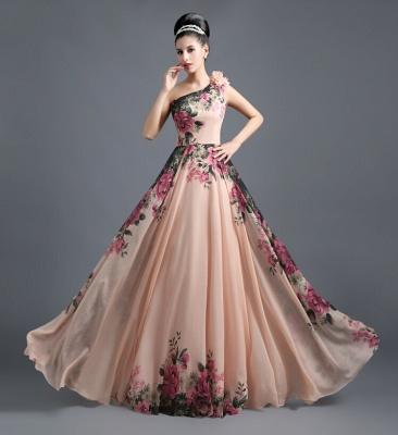 Sexy One SHoulder Print Flowers Floor Length Chiffon Prom Dress UK_1