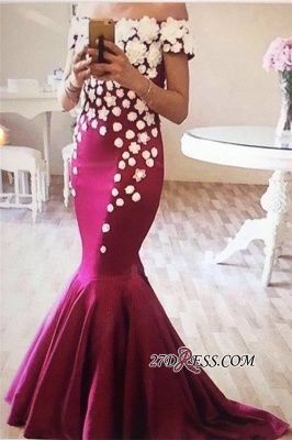 Off-The-Shoulder Sexy Mermaid Flowers Appliques Evening Dress UK_1