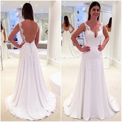 Stunning Sleeveless V-Neck Wedding Dresses UK Lace Long_3