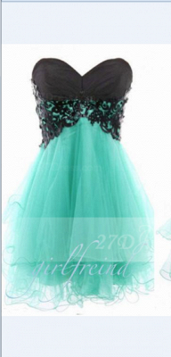 Appliques Elegant Short Cocktail Dress UKes UK Green Homecoming Sweetheart Sleeveless Organza Tiered Lace-up Gowns_1