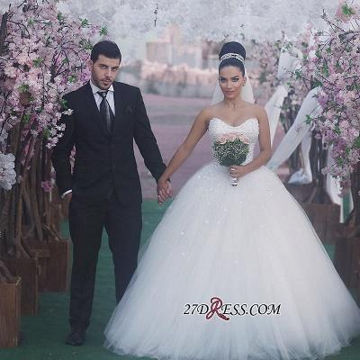 Sweetheart Sleeveless Beads Ball-Gown Elegant Wedding Dress_2