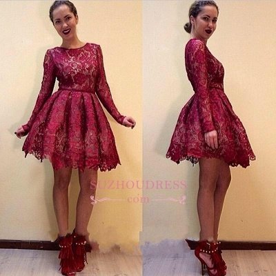 Short Burgundy Long-Sleeves A-line Lace Sexy Homecoming Dress UKes UK_1