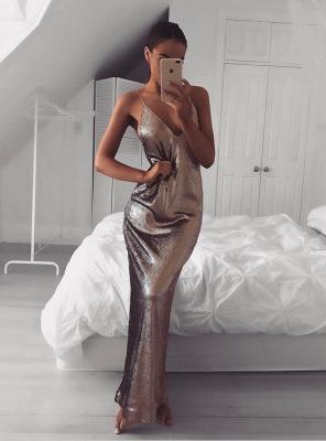 Elegant Sequins V-neck Prom Dress UK Long Mermaid On Sale_1