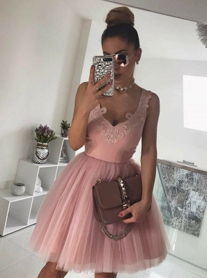 Newest Straps Sleeveless Lace Short Homecoming Dress UK   Mini Homecoming Gown_3