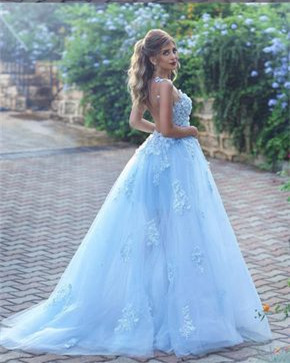 Baby Blue Luxury Sleeveless Evening Dress UK Long Tulle With lace Appliques BA7515_3