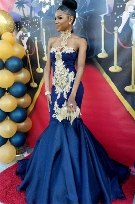 Navy Blue Halter Prom Dress UK | Mermaid Evening Gown With Appliques BK0_1