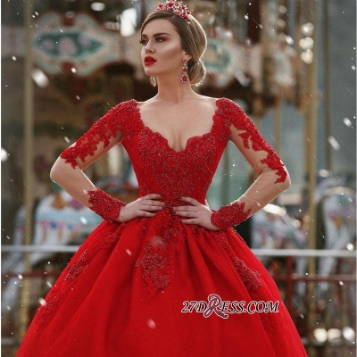 V-Neck Gorgeous Red Long Sleeve Lace Evening Dress BA7213_2