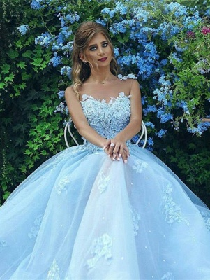 Baby Blue Luxury Sleeveless Evening Dress UK Long Tulle With lace Appliques BA7515_1